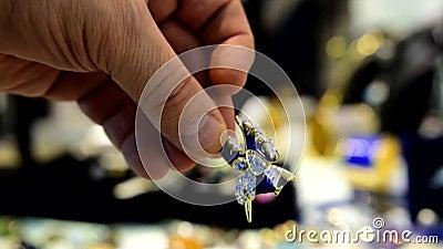 A joia das mulheres fez de metais baixos, de vidro e de materiais macios filme