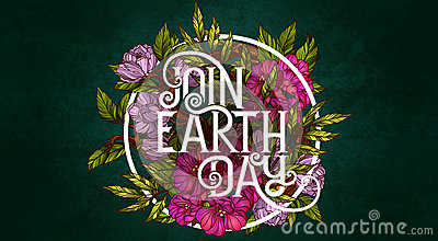 Join Earth Day. Poster template Vector Illustration