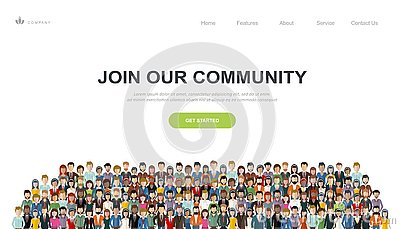 Join our community. Crowd of united people as a business or creative community standing together. Flat concept vector Vector Illustration