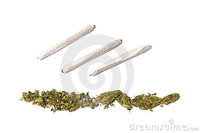 Joints and row of marijuana