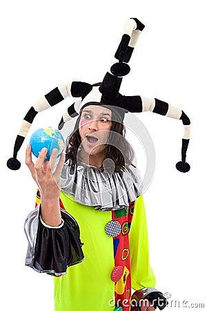 Joker with globe