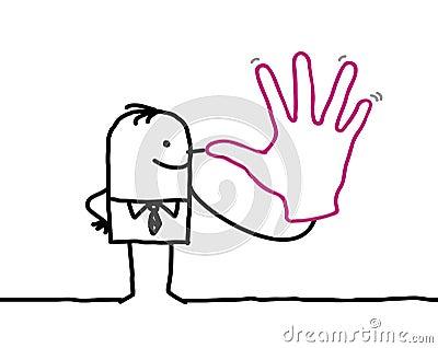 Joking businessman with big hand