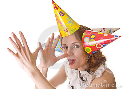 Joking woman in party hats