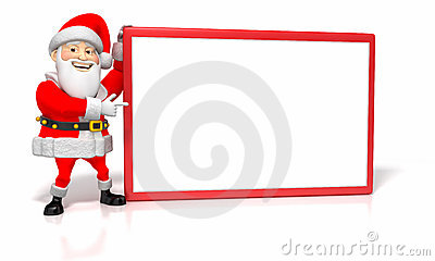 Jolly Cartoon Christmas Santa Pointing at Blank Si