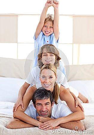 Jolly family having fun
