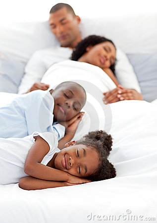 Jolly family sleeping