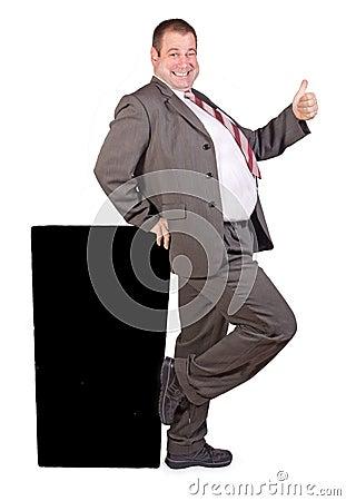 Jolly fat businessman