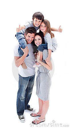Free Jolly Parents Giving Their Children Piggyback Ride Royalty Free Stock Photography - 12812237