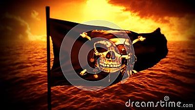 Jolly Roger Pirate Ship Flag Intro alaranjado Logo Motion Background video estoque