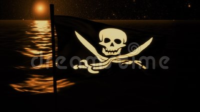 Jolly Roger Pirate Ship Flag Intro alaranjado Logo Motion Background filme