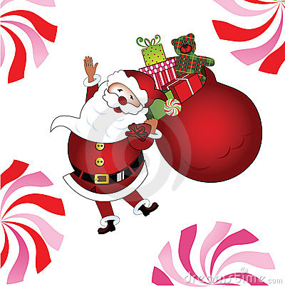Jolly Santa with gifts and teddy