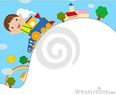 Jong geitje dat op een Trein van het Stuk speelgoed berijdt