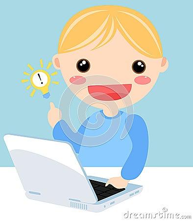 Jong geitje en computer