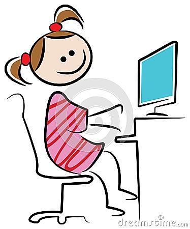 Jong geitje met Desktop