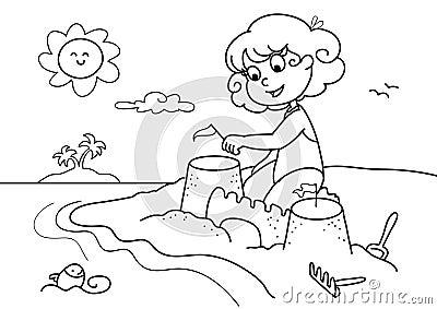 Jong meisje bij strandbw