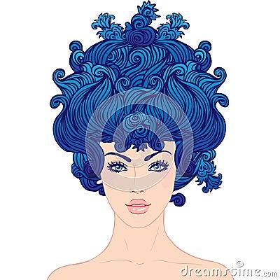 Jong mooi meisje met blauw haar stock foto 39 s afbeelding 27187863 - Stijl van marie antoinette ...