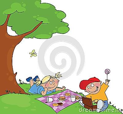 Jonge geitjes bij de picknick