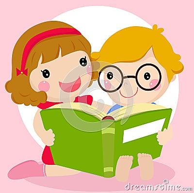 Jonge geitjes die een boek lezen