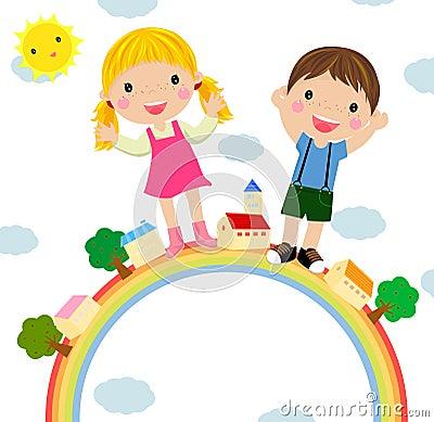 Jonge geitjes en regenboog