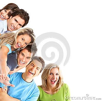 Jonge gelukkige mensen