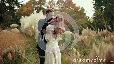 Jonge getrouwde bruidegom met baard en zwart pak knuffelt hun bruidkussen haar stock video