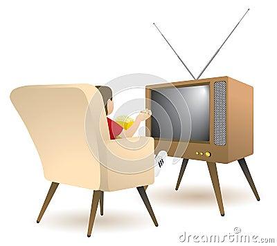 Jongen die op TV let