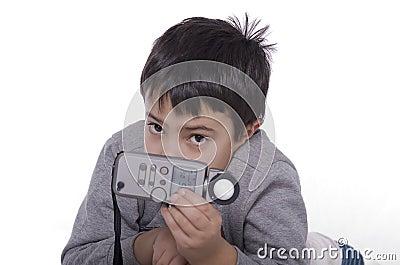 Jongen en flitsmeter