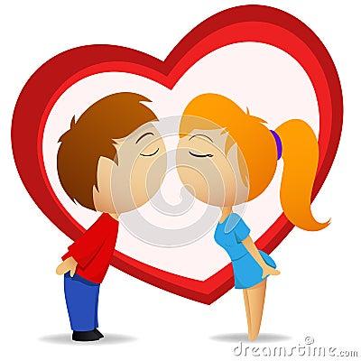 Jongen en meisje die met hartvorm gaan kussen royalty vrije stock fotografie afbeelding 18140837 - Twee meisjes en een jongen ...