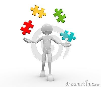 Jonglieren Sie mit Stücken des Puzzlespiels