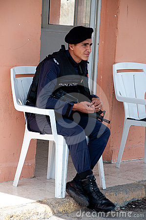 JORDAN 11 april 2012 The policeman Editorial Stock Photo