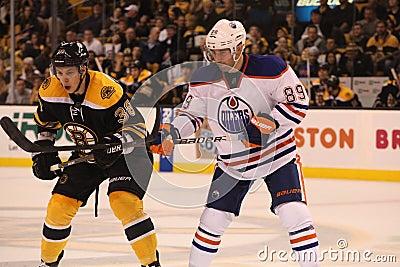 Jordan Caron v. Sam Gagner (NHL Hockey) Editorial Photo