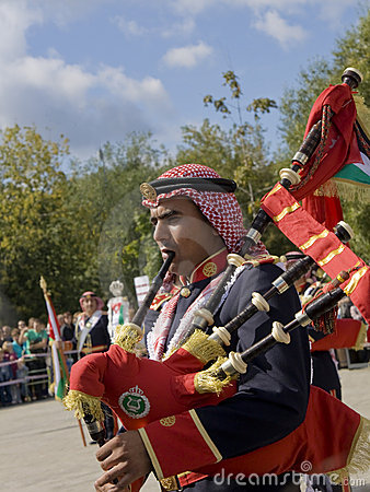 Jordanian military orchestra, festival Editorial Stock Photo
