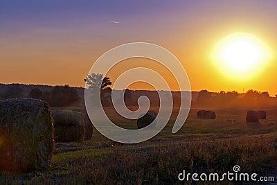 Jordbruksmark och den storartade solnedgången.