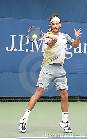 Jose Acasuso Hitting Forehand at the 2008 US Open Editorial Stock Photo