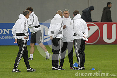 Jose Mourinho and his staff Editorial Image