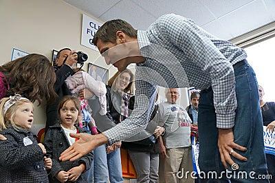 Josh Romney meeting childern Editorial Stock Photo