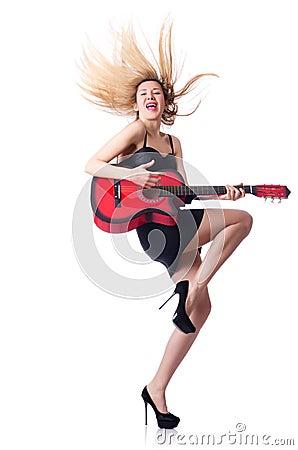 Joueur de guitare féminin