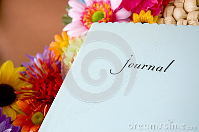 Journal with colorful flowers