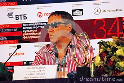 Journalist Andrey Plakhov at press-conference Editorial Photo