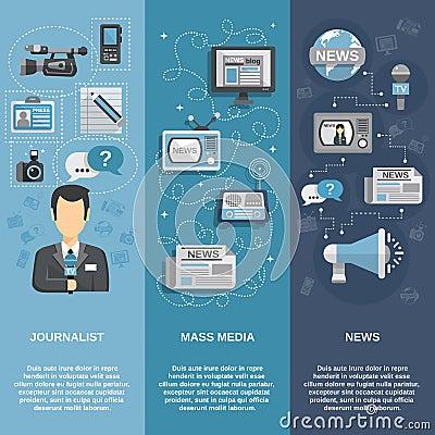 Free Journalist Banner Set Royalty Free Stock Image - 49739986