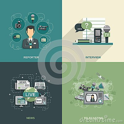 Free Journalist Icon Flat Stock Images - 50165744