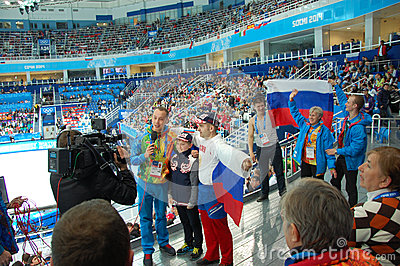 Journalist takes enterview Russian spectators Editorial Photography