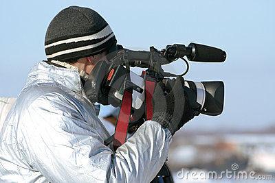 Journalist with a videocamera