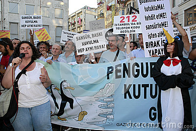 Journalists Protest in Istanbul Editorial Stock Image