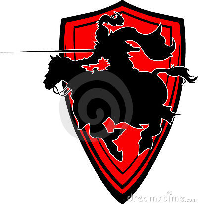 Jousting Knight Silhouette Mascot on Horse
