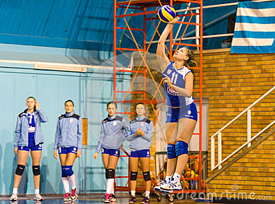 Jovanovic Katarina, a volleyball young player serving in CSM Bucharest - CSM Lugoj match Editorial Photo