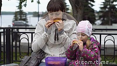 Jovem mulher e sua filha pequena que comem sanduíches no outono do parque video estoque