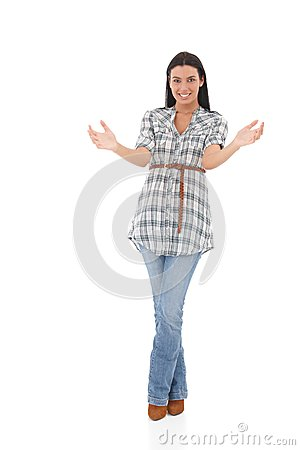 Jovem mulher que guardara um sorriso invisível do objeto
