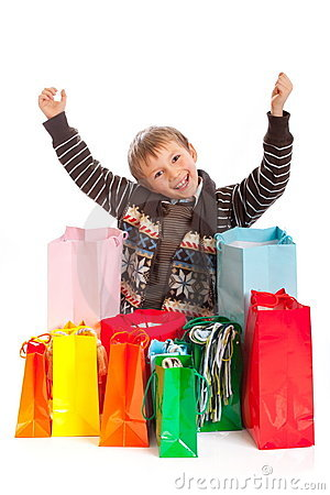 Jovial Boy with Shopping Bags