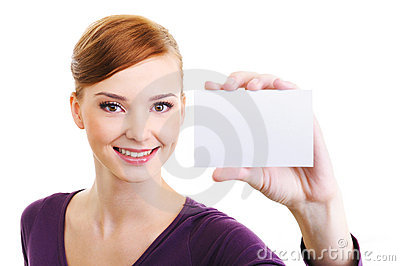 Joy female with blank small card in hand